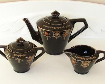Vintage Black Art Deco Teapot Creamer Lidded Sugar Bowl Moriage Beaded Ware