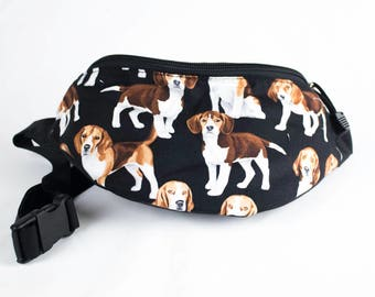 Fanny pack Beagle fabric - Cute  - Hip Waist Bag - 2 Zippers