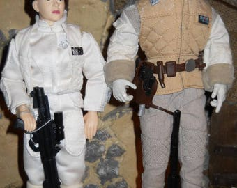 """12"""" 12 inch 1/6 Star Wars Action Figure lot Princess Leia and Luke Skywalker HOTH"""