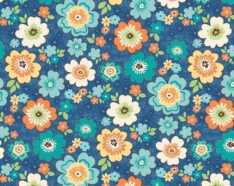 Riley Blake - Road Trip - Road Blossoms Blue by Kelly Panacci
