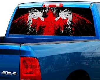 Canada Flag Bird Patriotic Rear Window Graphic Decal Sticker Truck SUV