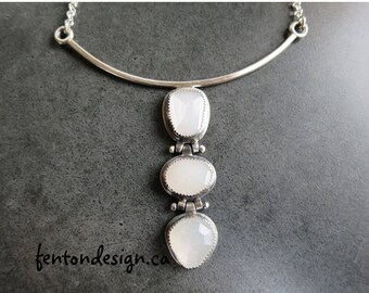 White Moonstone Drop Necklace, Faceted Moonstone Pendant, Handmade Necklace, Art Jewelry