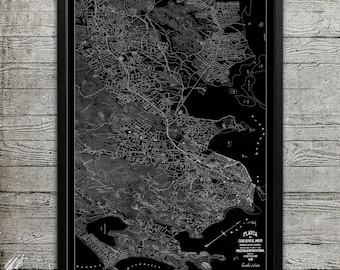 Map of Rio De Janeiro Print, Wall Decor for your Home or Office