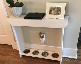 4 Bowl Dog Feeder, 4 Bowl Cat Feeder, Narrow Console Table, Pet Furniture