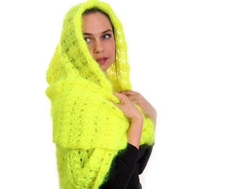 Yellow Neon Hand Knitted Infinity Mohair Scarf with Hood by Solandia, Hooded Scarf