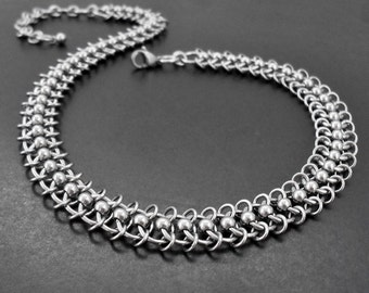 Stainless Steel Centipede Chain Choker Collar Necklace - Chainmaille