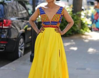 Long ankara dress, print dress, gathered dress, african print dress, ankara dress, maxi dress, maxi, dress, african clothing, prom, wedding