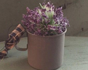 Tiny Tin Cup With Handle Vintage Inspired Antique Gray 1 and 1/2 Inches Primitives Ornament Doll Making Home Decor