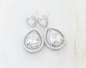 Statement Bridal Earrings, Wedding Earrings, CZ Earrings, Wedding Jewellery