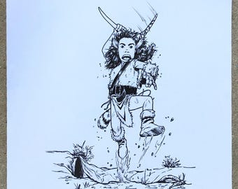 "The Feral Kid | 8.5""x11"" Inked Drawing | **Original Hand Drawn Art**"