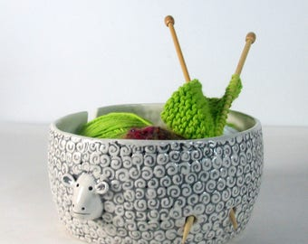 Large sheep yarn bowl Pottery Ceramic Yarn bowl  Knitting or crochet bowl Knitter gift  Ready to ship