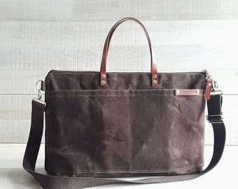 Waxed Canvas Weekender Tote Bag, Chocolate Brown waxed, waxed diaper bag, dark brown messenger bag, brown waxed, unisex waxed canvas tote