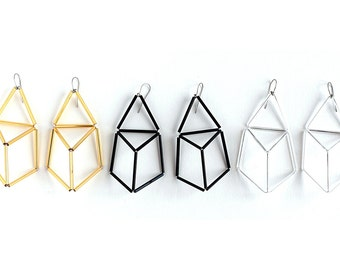 Geometric Statement Earrings-Clear Prism Earrings- 3d Triangle Earrings