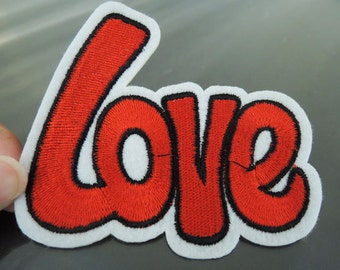 LOVE Letter Patches - Iron on or Sewing on Patch Letter Patches Red Large Patch Embellishments Embroidery fonts
