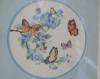 20% OFF SALE Vintage Dimensions No Count Cross Stitch Kit Blossoms and Butterflies 3922 FREE Shipping Usa