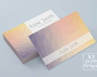 Modern pre-made business card template printable business card custom business card design colorful geometric modern business card graphic