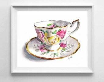 flower teacup art print, teacup watercolor print of original painting