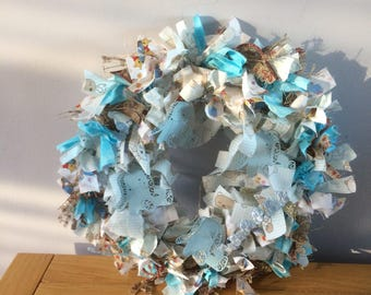 A beautiful baby boy cotton wreath.