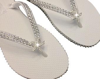 Bridal Flip Flops - Starfish Flip Flops - Beach Wedding Flip Flops - Bridesmaid Flip Flops - Star Fish Flip Flops  - Custom Flip Flops
