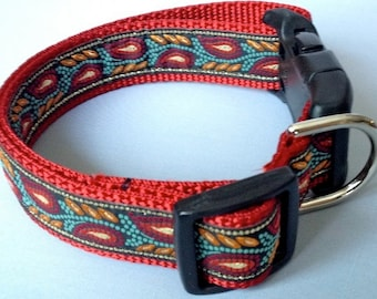 RED PAISLEY PREPPY Dog Collar  - Leash Sold Separately