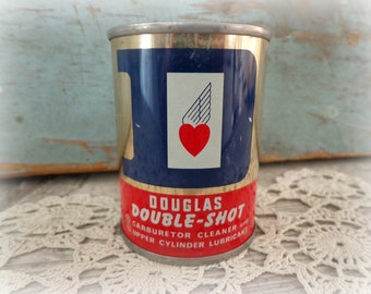 rare vintage douglas oil carburetor double shot NOS full tin oil can sign - nice!