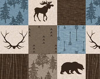 Blue Brown Tan Minky Baby Blanket Baby Boy Quilt Moose Arrow Bear Antler Woodland Baby Quilt Crib Bedding Rustic Patchwork Nursery Quilt