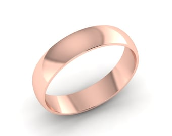 Rose Gold Wedding Band, Classic Rose Gold Wedding Band, Mens Rose Gold Band, Womens Rose Gold Band, Half Rounded Wedding Band, 5 mm Wide