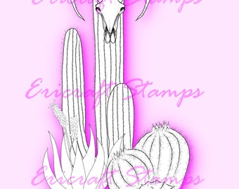 Digital Stamp - Cactus Skull - PNG image for cards and crafts by Erica Bruton