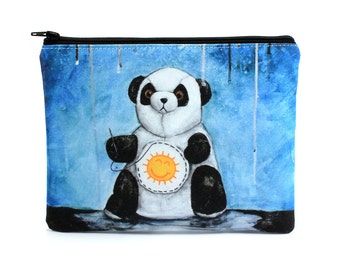 I'll Try Anything - Zipper Pouch - Sad Panda Sewing Sunshine on Belly to find Happiness - Art by Marcia Furman