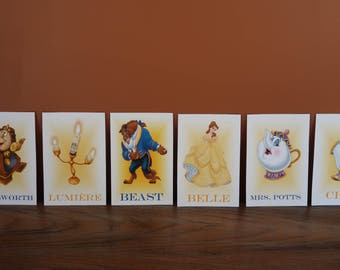 Beauty and the Beast Table Character Cards **Princess Belle, Beast, Lumiere, Cogsworth, Mrs. Potts, Chip, etc.**