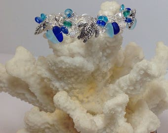Sterling silver Seaglass and turtle hand crocheted magnetic bracelet