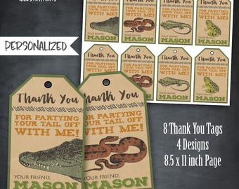 Reptile Thank You Tags, Reptile Favors, Reptile Tags, Reptile Birthday Party, Snakes, Crocodiles, Frogs, Lizard, Personalized, Printables