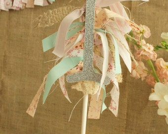 Shabby Chic Number Fabric Banner Cake Topper