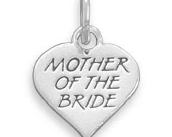 Wedding Keepsake Charms for the Mother of the Bride Sterling Silver Heart Charm for Bracelets, Bouquets or Gift Packages