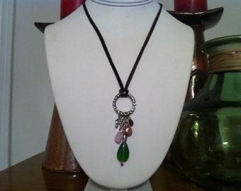Brown Deerskin Multibeaded Necklace