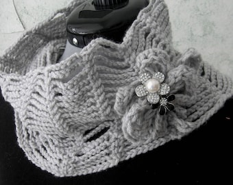 Crochet Pattern Womens Infinity Scarf With Yarn Brooch And Jewelry Trim Easy To Make Instant Download