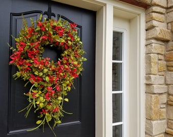 Summer Wreaths, Wreath,Red Daisy Wreath, Summer Front Door Wreaths,Door Wreaths Summer,Modern Wreaths, Etsy Wreaths, Decorative Wreaths