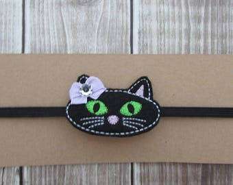 Black Cat Headband, Halloween Headband, Infant Headband, Girls Headband, Baby Headband, Elastic Headband