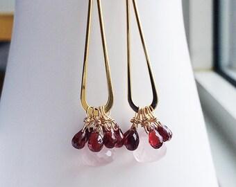 Rose Quartz, Garnet Earring, Long Earrings, Teardrop Earring