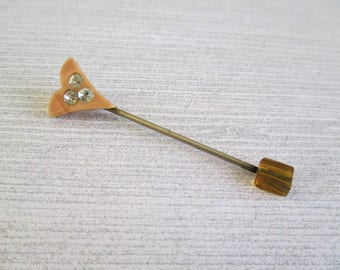 Little Vintage Celluloid and Rhinestone Stick Pin