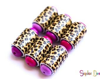 Leopard and pink Barrel beads - 6 Handmade polymer clay beads - animal print barrel beads
