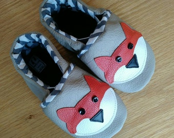 baby fox shoes size 6/ 18-24 months, boy baby booties, baby shower gift, moccasins