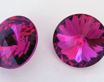 Swarovski Crystal 18 mm Rivoli Fuchsia 2 pieces
