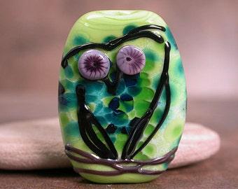 Lampwork Glass Owl Focal Bead, Lampwork Bird Bead, Art Glass Focal, Sketchy Owl Series, Divine Spark Designs, SRA