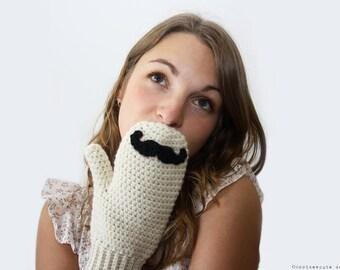 CROCHET PATTERN - Mustache Mitts - Instant Download (PDF)
