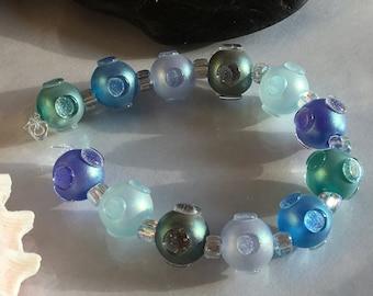 Handmade Lampwork Glass Beads SRA Jeweled Mermaid's Shimmering Sea Pearl Rounds (12)
