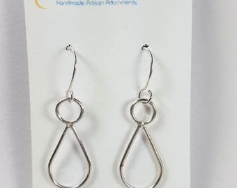 Sterling Silver Hanging Earrings, Silver Teardrop Earrings, Feminine Form Earrings, Silver Hanging Earrings, Silver Dangle Earrings