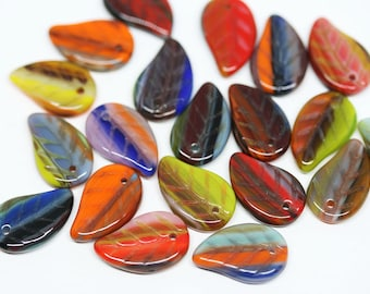 Bright leaf beads mix Czech glass leaves pressed beads Multicolor Red Orange Green top drilled 14x9mm - 20Pc - 0004