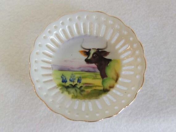 Vintage Pierced Lace Edge Norcrest Plate / Dish.. Hand Painted Steer Landscape
