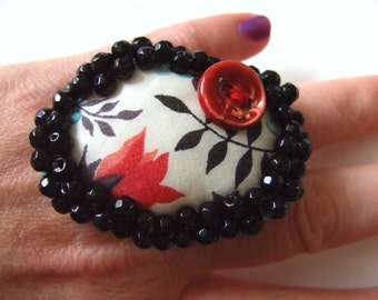 Liberty fabric, black, white, red, hand embroidered, Ring or Brooch, floral, by NewellsJewels on etsy